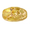 Glass Floral Oval Bead 15x12mm Jonquille/Gold - Strung